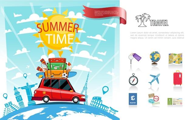 Concetto di viaggio estivo piatto con automobile che si muove sull'illustrazione delle icone del biglietto del passaporto del bagaglio dell'aeroplano della bussola di navigazione della mappa chiave del globo,