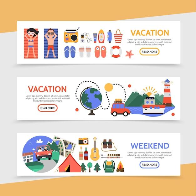 Insegne orizzontali di viaggio piatto di estate con la vacanza della spiaggia di viaggio della nave da crociera di viaggio dell'automobile e l'illustrazione degli elementi di campeggio