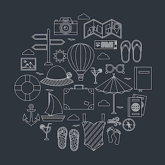 Flat summer travel line objects set. vector illustration of summer holiday objects over dark background