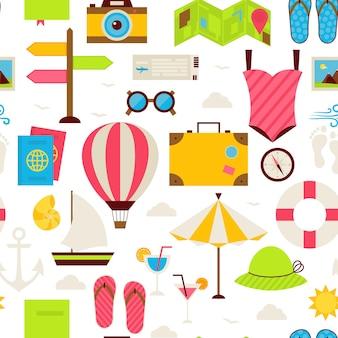 평면 여름 여행 완벽 한 패턴입니다. 휴가 휴가 평면 디자인 벡터 일러스트 레이 션. 타일링 배경입니다. 바다 마린 비치 리조트 다채로운 개체 화이트 이상 격리의 컬렉션입니다.