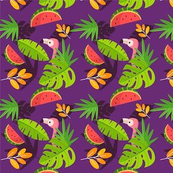 Плоский летний тропический узор