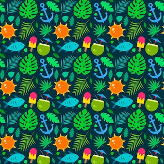 平らな夏の熱帯パターン