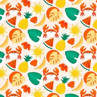 평평한 여름 열대 패턴