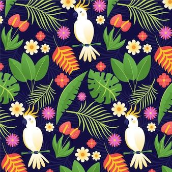 Flat summer tropical pattern