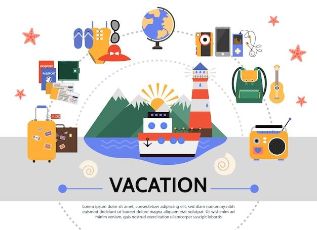 플랫 여름 휴가 개념