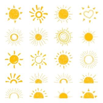 平らな太陽のアイコン。太陽のピクトグラム。ウェブサイトのデザイン、ウェブボタン、モバイルアプリのトレンディな夏のシンボル