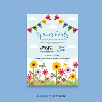Flat sunflower field spring party poster