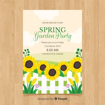 Flat sunflower spring party poster template