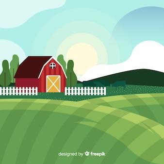 Flat sunny farm landscape background