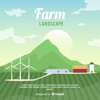 Flat sunny farm landscape background