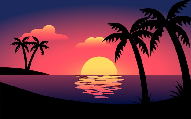 Flat sunset beach landscape with palm trees