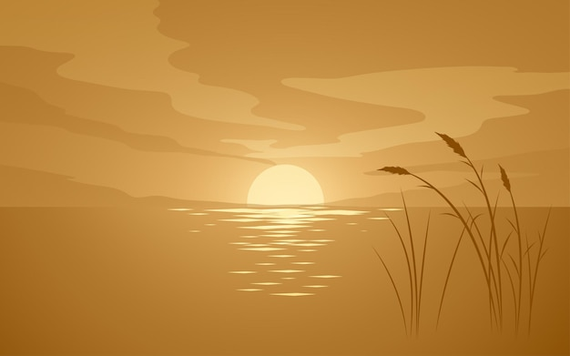 Flat sunset illustration with grass silhouette