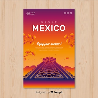 Flat sunset travel poster