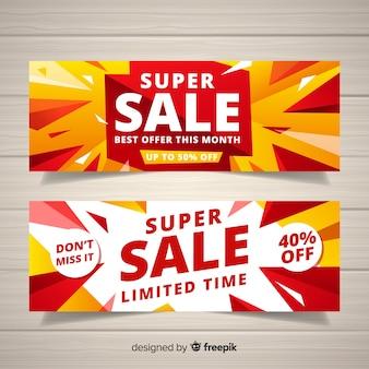 Flat super sale banner template