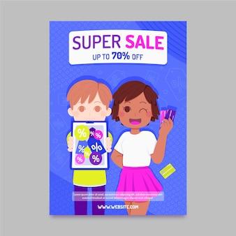 Flat super sale poster template