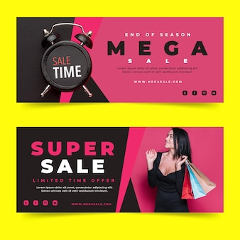 Flat super sales banners with photo