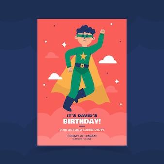 Flat superhero birthday invitation template