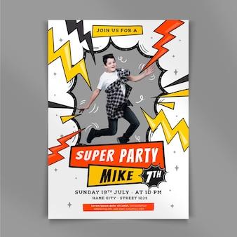 Flat superhero birthday invitation with photo