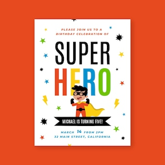 フラットスーパーヒーローの誕生日の招待状
