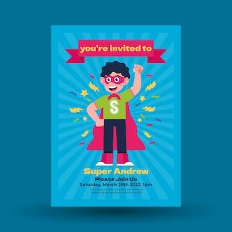 Invito di compleanno piatto supereroe