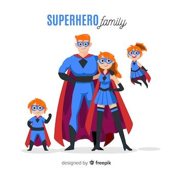 Flat superhero family concept