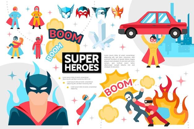 フラットスーパーヒーローのインフォグラフィックコンセプト