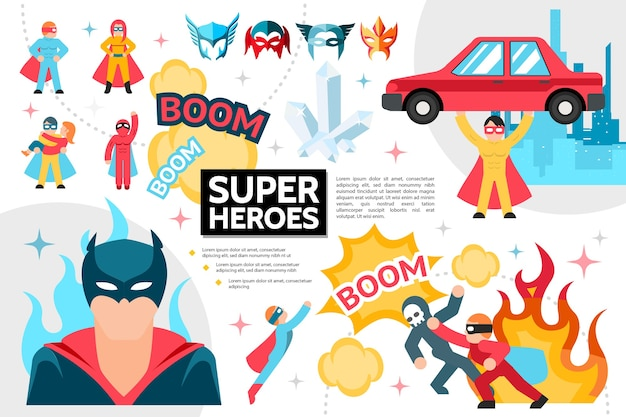Flat superheroes infographic concept