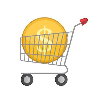 ゴールデンコインマネーベクトルillustrとフラットスーパーマーケットカートアイコン