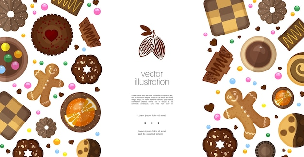 Flat sweet products colorful template