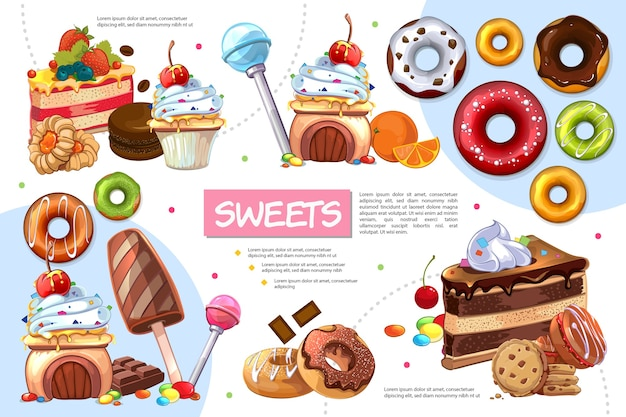 Flat sweet products infographic template
