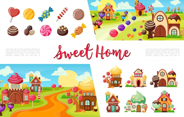 Flat sweets colorful collection with candies and lollipops of different shapes funny sweet houses