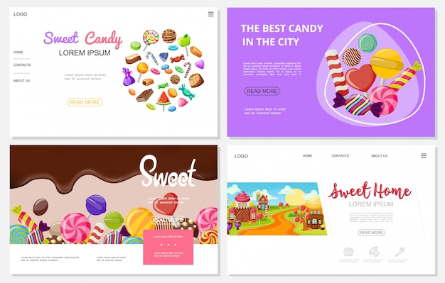 Flat sweets websites set with colorful chocolate caramel candies ice cream lollipops funny sweet houses