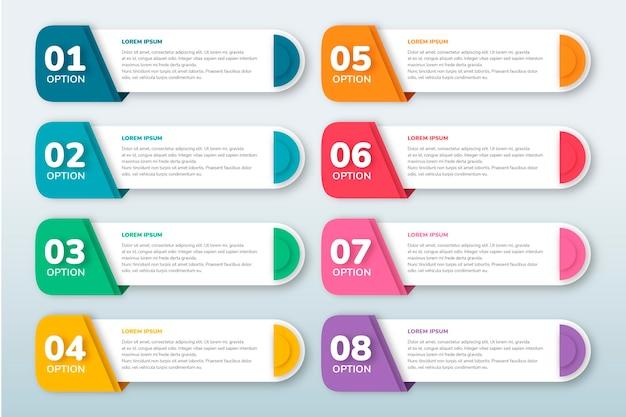 Sommario piatto infografica