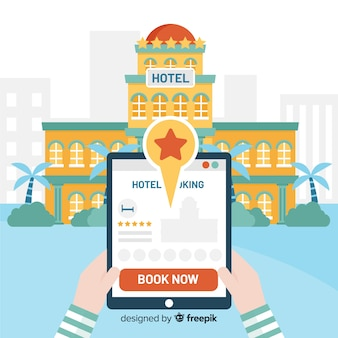 Flat tablet hotel booking background