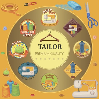 Плоские портновские инструменты круглой композиции с разноцветными пошивами эмблемы ножницы швейные машины тканевые пуговицы вешалка наперсток нитка клипер и бобины