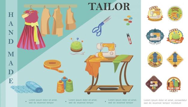 Композиция плоских элементов пошива с платьем-ножницами, катушкой ниточных пуговиц, мерной ленты, иглы для швейной машины и разноцветные индивидуальные этикетки