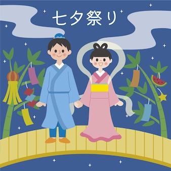 Flat tanabata festival illustration