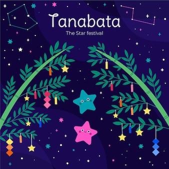 Flat tanabata illustration