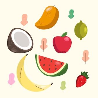 Плоская коллекция вкусных фруктов