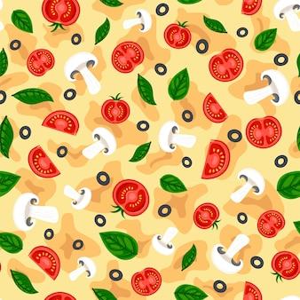 Flat tasty pizza seamless pattern  italian fast food background print texture