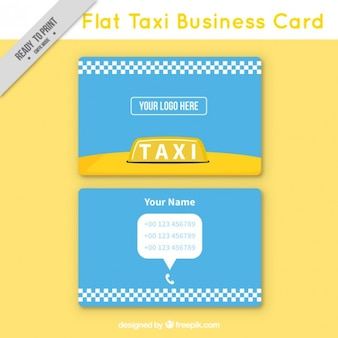 Flat taxi business card, minimal style