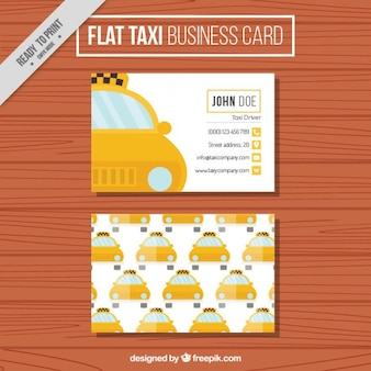 Flat taxi business card with pattern