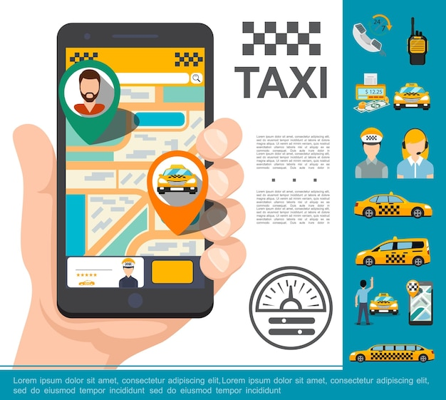 Концепция онлайн-сервиса плоского такси с рукой, держащей мобильный телефон с приложением для заказа такси, телефон, радиоприемник, счетчик автомобилей, деньги, водитель, оператор, иллюстрация