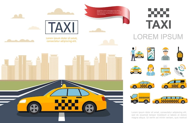 Плоская композиция службы такси с такси на дороге пассажирский оператор водитель счетчик деньги радиоприемник мобильные разные автомобили иллюстрации