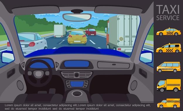 Concetto di servizio taxi piatto con automobili vista interna automobile che si muovono su strada e diversi tipi di veicoli taxi