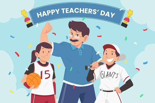 Flat teachers' day background