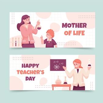 Flat teachers' day horizontal banners set