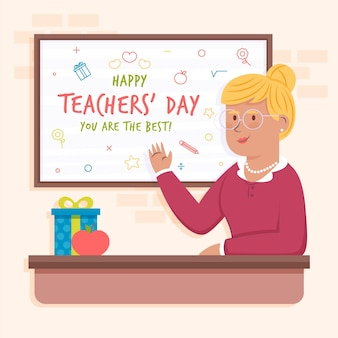 Flat teachers' day illustration