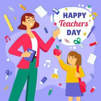 Flat teachers' day illustration