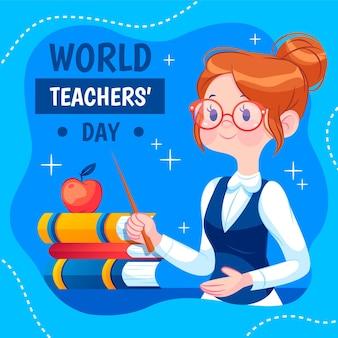 Плоский день учителя иллюстрация